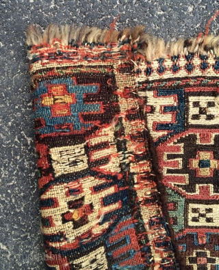 Unusual sweet Shasavan soumac chanteh. I've had this in pile pieces before and I've seen large soumac bags, but never a small one like this. Could use a wash. Found in New  ...