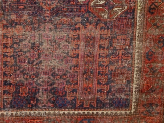 """Antique Baluch rug or small main carpet (7'4""""x4'6"""") from Khorosan, ne Persia. Timuri type shrubs and trees and unusual geometric elements. Worn but complete with natural colors including four blues, one corrosive,  ..."""