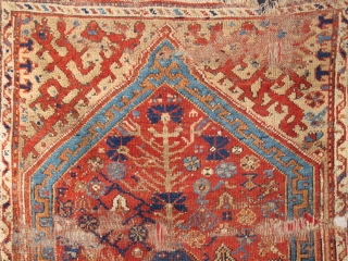 "Large 18th century Ushak Prayer Rug, conserved and partially mounted, 4'7""x5'6"" /140x168cm"