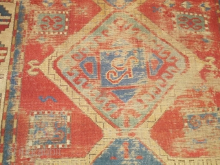 Old, worn, little Kazak Prayer Rug, horse and rider in top corner. good colors.