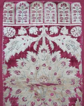 Ottoman Velvet Yastik, 17th century, apx. 2'x4'