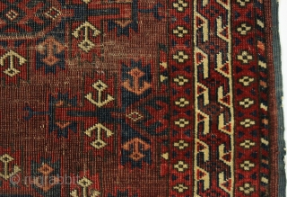 """small Yomut Turkmen Rug with Kepse Guls. wedding rug? Nicely drawn skirts with anchor-shaped elements.  3'6"""" x 5'"""