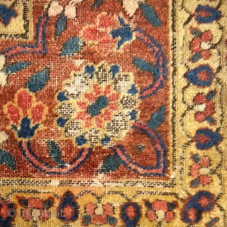 """Early minakhani border fragment from a late 18th century jufti knotted Khorosan or Herat rug. 2'0""""x1'11"""""""