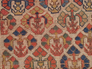 Transplendently Colorful Early Northwest Persian Kurdish Fragment. Saturated and radiant yellows, green, purples, blues on an ivory ground. Fantastic wool and handle. Old! How old you ask? Old enough. Not Devonian old  ...