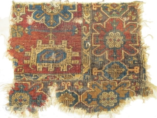 3 Fragments from a Significant Near Eastern Carpet found in Tibet. Most probably 17th century based on design and relation to classical prototypes from northwest Persia. These fragments are structurally a little  ...