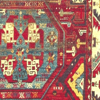 Anatolian rug with archaic classical Holbein references. 18th century, probably East Anatolian Kurdish but with a palette reminiscent of Karaman area things. Great drawing in the spirit of much older wheel and  ...