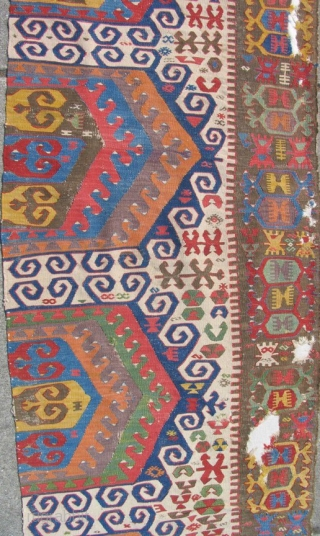 """Central Anatolian Konya Karapinar Kilim. Fantastic color. Areas of the back are conserved by mounting. 148"""" x 32"""""""