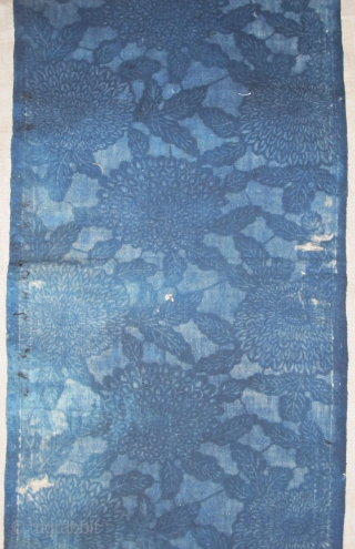 "Japanese indigo resist-dyed long cotton textile strip (almost 12 feet long by 13"" wide)"