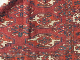 Classic Kizyl Ayak Chuval with a blank elem. Tight weave, soft wool,floppy handle, glossy sheen.  Published in Hali 148 'Kizil Ayak & Ali Eli Chuvals' by s. Peter Poullada p. 70, img.  ...