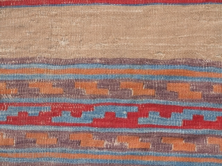 "Anatolian kilim, thin and fine with striped bands with geometric design on a camel ground. mounted and conserved. 22"" x 65"". McCoy Jones-esque?"