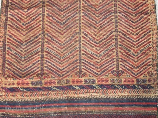 """Baluch Kilim Sofreh, abstract trees drawn on a camel ground. All natural colors with highlights in silk and silk with metal-thread. bands of floating weft design on both ends. 4'x2'5"""""""
