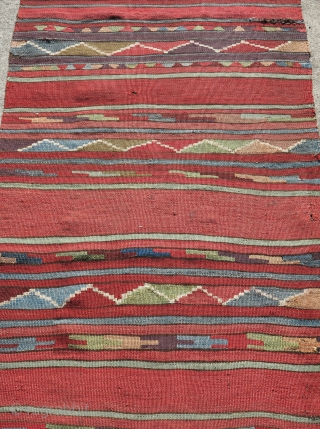 "Karapinar / Mut / South central Anatolian kilim. Great colors woven on dark warp. Good age. 30"" x 108"""