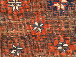 Khorosan Baluch Rug with Memling Guls arranged within a lattice. Abstracted trees are alternated throughout the ivory-ground border. Very nice example of a familiar but uncommon type.