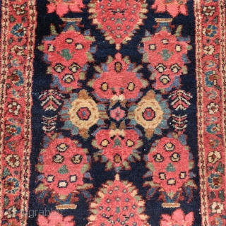 "really nice Persian village mat or poshti, probably Hamadan, 1'11""x3'0"". All vegetal dyes."