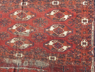 Large Kizyl Ayak Turkmen chuval, very old with a great weave, floppy handle, great spacing, and rich saturated colors. a portion of the grey flatwoven back is still preserved and as light  ...
