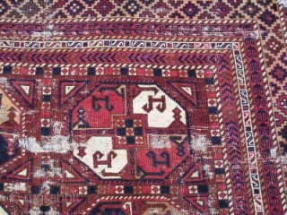 Central Asian squarish main rug. Uzbek, Kyrgyz, or something else depending on your dogma. Very nice drawing, saturated natural colors and camel wool. Warp is hand-spun cotton perhaps pointing to a Ferghana  ...