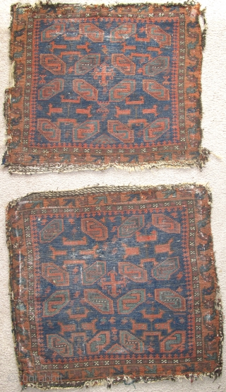 Pair of Baluch bagfaces, blue-ground west Afghanistan, great saturated natural colors, until recently these had been fashioned as upholstery.