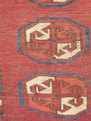 Eastern Turkmen, Kizyl Ayak rug fragment of what must have been an unusually sized weaving for the type with floating guls, nicely spaced.