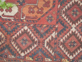 Ersari? Turkmen Guli-Gul Main Carpet. Wear is pretty much as it appears in the images. One side has significant loss to the selvedge and there is small amount of detailing within the  ...