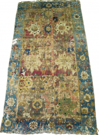 An early (Jufti knotted type) Herat / Khorasan pastiche carpet, reduced in length. Safavid era, circa 1600. A later version of this design type may be Found in Burns 'Visions of Nature:  ...