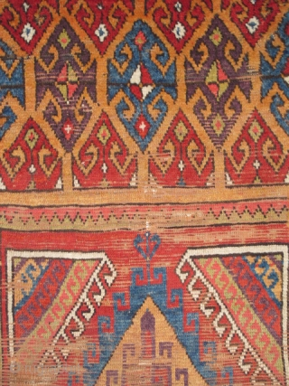 """Central Anatolian Rug Fragment, circa 1800, with vibrant and multiple colors. Bold geometry and exceptional proportions. (5'3"""" x 3'1"""" / 160x94cm)"""