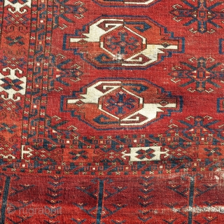 Old large Kizyl Ayak chuval. Much larger than most with a great weave and rich colors. Very nice spacing. Excellent handle. A portion of the grey flatwoven back is still preserved. size  ...