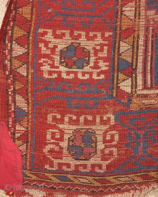 """Bergama area Anatolian Turkish rug, an early rendition of this uncommon type with saturated color and open drawing, silk knots in the center. Stars and ewers. 64""""x78"""" 163x198cm. Inscribed in two places  ..."""
