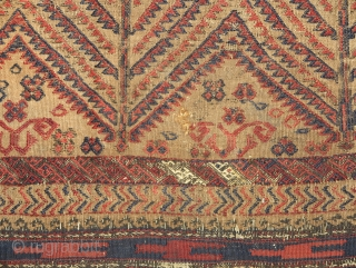 Baluch flatwoven sofreh, camel-ground with a field of repeat abstracted trees. A couple of silk highlights. Nice ends with some weft float. The piece is cut and shut at the the top  ...