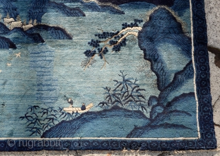 ANTIQUE PICTORIAL NATURAL SCENERY CHINESE FINE RUG