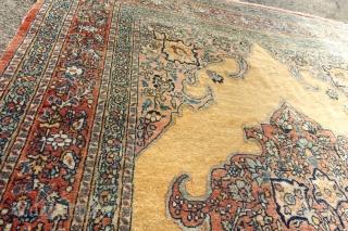 Antique Yellow-Vanilla Hadjalili Tabriz, USA: 6' 0 x 4' 3 / EUROPE 183 x 132 cm, $ 1415 + ship $ 45