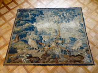 ANTIQUE 17 CENTURY SILK AND WOOL AUBOUSSON TAPESTRY