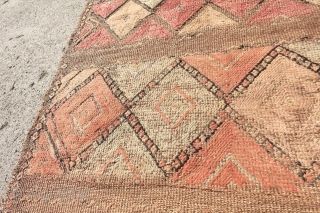 Very Tribal possibly of North African Origin rug which will be shipped rolled up. Material could be Hemp?, Ancient and african inspired feel to it, 183cm x 249cm or 6'0 x 811