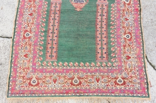Antique Silk Anatolian, Green Field, has been touched up by previous owner,  100 x 145cm, lovely.