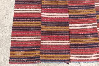 143cm x 180cm, Antique super fine Kilim, woven finer then the usual.