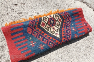 Antique Anatolian Kilim, complete endings, wool and metal thread on wool. 65cm x 207cm, we ship quick and safe.