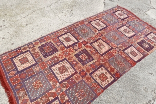 Antique Caucasian Verneh Kilim, 109 cm x 240cm, Highly Decorative and Cheerful Kilim, we ship quick and safe. $ 900 shipped.