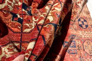 ANTIQUE TURKMEN TEKKE COLLECTORS CARPET, 1860's     8'6 x 6'2 or 265 cm x 189 cm  ANTIQUE SUPER ANCIENT 1860's MAKE TEKKE TURKMEN COLLECTORS BEAUTY   GOOD OVERALL ORIGINAL PILE IS GIVEN, NATURAL  ...
