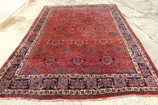 ANTIQUE LARGE ALLOVER BLOSSOM BIDJAR GERRUSS     12'8 x 9'4 or 392 cm x 287 cm  ANTIQUE ALLOVER BLOSSOM DESIGN BIDJAR GERRUSS CARPET    THE COMBINATION OF THESE COLORS, AGE, DESIGN AND QUALITY MAKE  ...