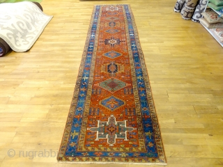 ORIGINAL 1890s FINEST RICH FINE SERAPI-KARAJE RUNNER 3'5 x 14'9