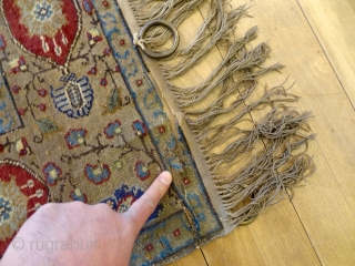 ANTIQUE 1880's METAL-GOLD KNOTTED LARGE KAYSERY FINE RUG 