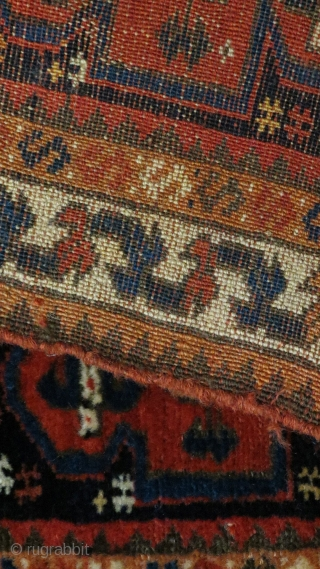 Bagface of unknown origine, Magnificent wool, colors and a design that reminds of Westanatolian rugs. Well into the 19th c. A diamond for every collector.