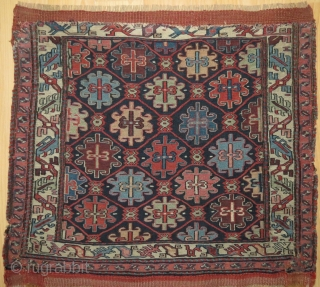This is an outstanding Shahsavan bagface. Not only is it drawn exquisitely, it also has a very rare border and lots of colors. The bottom misses a bit and is secured with  ...