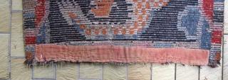 Tibetan Dragon Carpet, beautiful colours. 19/20th century Some repairs.  87 x 160cm