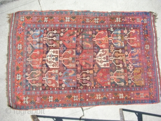 "Khamseh rug 6'4""x 3'11' Repiled areas in the indigo field"