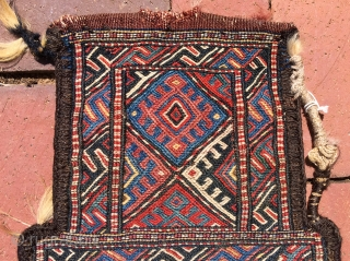"""A Khorassan (Quchan) Kurd sumac salt-bag.  Height--18"""" , width--12""""(at bottom edge). Interesting complex binding of side seams.  A solid, well-crafted utilitarian item. Very good condition— slight wear on the edge  ..."""