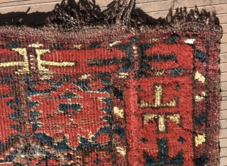 """Beshir Turkmen torba or germech.   44"""" x 17"""" (112 cm x 43 cm). The top edge was folded back and hemmed--- parts of this hem are now coming unstitched.   ..."""