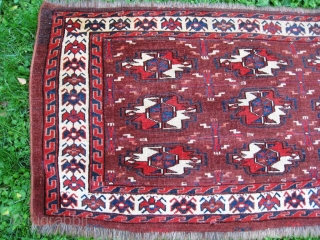 """Early 19th century Turkmen Yomut chuval, most probably from Yomut Igdyr subgroup. Great natural colors, no tears, holes or stains. Circa 1825. Rare piece. Measures : 24"""" x 45""""  _______  61  ..."""