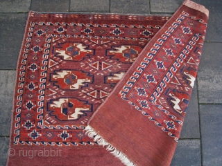 """Early 19th C Yomud Yomut chuval. Lovely old natural colors with beautiful deep blue and turquoise. Symmetrical knotting. No repairs. Very good condition and clean. Early 19th century !! Size: 31"""" x 43""""  ..."""