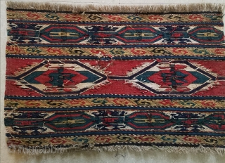 "Shahsavan soumak end panel - about 13"" x 22"" repair to center.  $145/best offer + shipping"