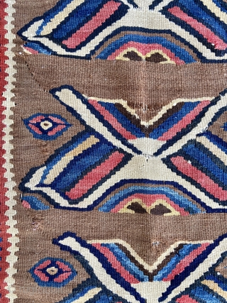 """Kilim - about 27"""" x 38"""".  Relatively good condition with a few small breaks (detail 2nd pic) and minor stain(last pic)"""